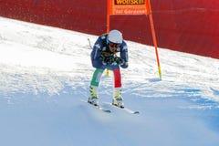 在奥迪FIS高山滑雪世界杯-人的下坡R的Casse Mattia 库存照片