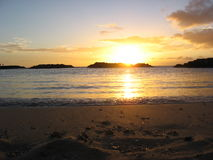 在奥阿胡岛北部岸的日落  图库摄影