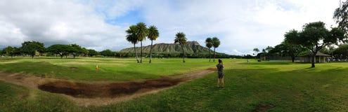 在奥阿胡岛夏威夷海岛上的金刚石头  库存图片
