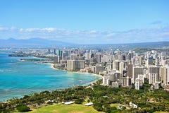 在奥阿胡岛夏威夷的檀香山和威基基海滩 免版税图库摄影