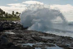 在奥阿胡岛,夏威夷的碎波 库存照片