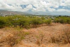 在奥阿胡岛Ha的金刚石顶头状态纪念碑公园足迹关闭檀香山 库存照片