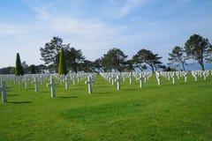 在奥马哈海滩附近的美国军事世界大战2公墓 库存图片