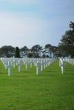 在奥马哈海滩附近的美国军事世界大战2公墓 库存照片