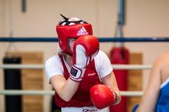 在女孩之间的竞争拳击。 库存图片