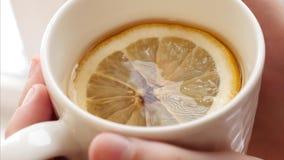 在女孩有柄小镜棕榈用芬芳茶和切片柠檬,早晨维生素早餐关闭 影视素材