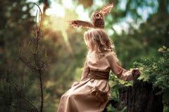 在女孩的头的猫头鹰 免版税库存照片