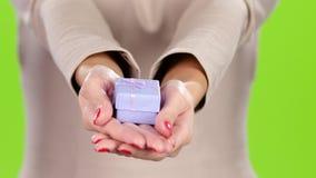 在女孩的棕榈的逗人喜爱的小的礼物盒 股票视频