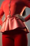 在女孩的红色巴斯克语 免版税库存照片