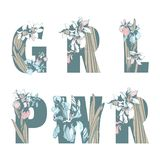 在女权妇女团体T恤杉印刷品GRL PWR女孩妇女力量手拉的花卉样式春天花上写字 库存例证
