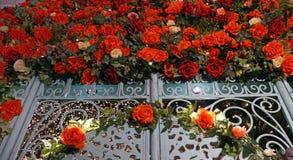 在女王维多利亚大厦的第2级上的被迷惑的庭院是与闪烁光和花的长满的神秘园水滴 免版税库存图片