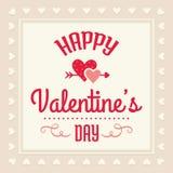 在奶油和红色的愉快的情人节卡片 免版税库存照片