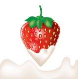 在奶油和飞溅蘸的草莓 库存图片