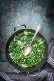 在奶油沙司的菠菜在与匙子的砂锅盘在土气背景,顶视图 库存图片