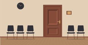 在奶油色背景的办公室走廊:访客有椅子的和木板的等候室在地板上 对的门 皇族释放例证