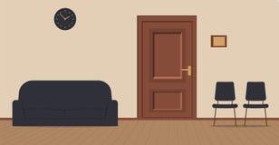 在奶油色背景的办公室走廊:访客的等候室有椅子、沙发和木板的在地板上 对的门 皇族释放例证