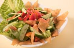 在奶油色颜色背景的新鲜蔬菜沙拉 免版税库存图片