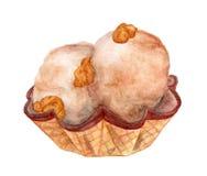 在奶蛋烘饼杯子的冰淇凌用在白色背景,手拉的水彩例证的焦糖玉米花 库存图片