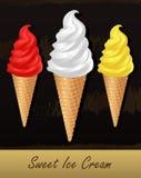 在奶蛋烘饼锥体的扭转的冰淇凌 库存照片