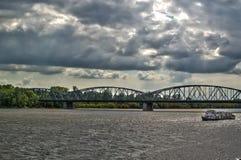 在她的奔跑中间的河维斯瓦河,波兰 图库摄影