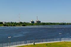 在她的奔跑中间的河维斯瓦河,波兰 免版税库存照片