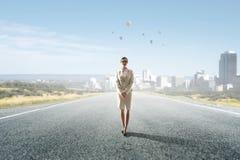 在她的对成功的途中 混合画法 免版税图库摄影