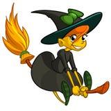 在她的笤帚的万圣夜逗人喜爱的巫婆飞行 传染媒介动画片贴纸 库存照片