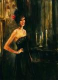 在她的头发的红色玫瑰 免版税图库摄影