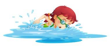 在她的绿色游泳服装的女孩游泳 免版税图库摄影
