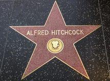 在好莱坞星光大道的亚弗列・希治阁的星 免版税库存照片