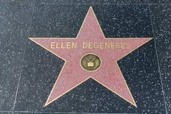 在好莱坞星光大道的艾伦・狄珍妮星 库存图片