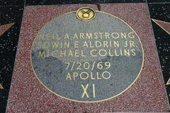 在好莱坞星光大道的阿波罗XI星 库存照片