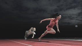 在妇女和猎豹之间的种族 免版税库存照片