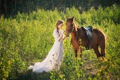 在妇女和马之间的友谊 免版税库存照片