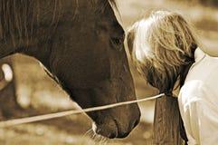 在妇女和马之间的接近的债券 免版税库存图片