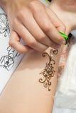 在妇女手,皮肤装饰上的Mehndi应用 库存图片