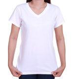 在妇女的空白的T恤杉 免版税库存图片