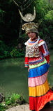 在妇女的Miao衣物 免版税库存图片