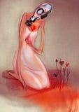 画在妇女纸拿着花的防毒面具的 免版税图库摄影