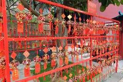 在妈阁庙的红色祷告纸,澳门 库存图片