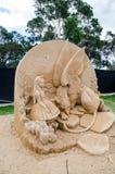 在妙境陈列的美好的沙子雕塑`嘲笑乌龟`,在Blacktown Showground 免版税库存图片