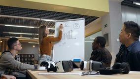 在委员会的年轻女商人图画图在遇见女性和男性cowoker期间 影视素材
