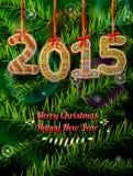 在姜饼形状的新年2015年反对杉木的分支 库存照片