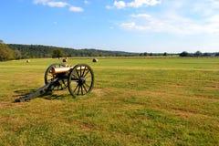 在威尔逊的小河的南北战争大炮 库存照片