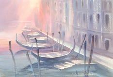 在威尼斯早晨水彩的长平底船 库存照片