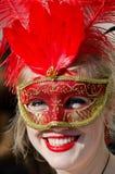 在威尼斯狂欢节的美好的微笑的面具 库存图片