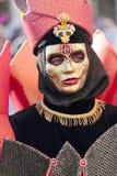 在威尼斯狂欢节的黑和金黄面具  免版税库存图片