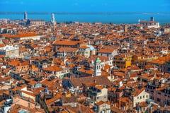 在威尼斯的顶视图从圣Marco塔 免版税库存照片