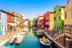 在威尼斯,意大利附近的Burano海岛 免版税库存照片