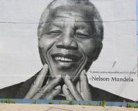 在威廉斯堡部分的纳尔逊・曼德拉壁画在布鲁克林 图库摄影